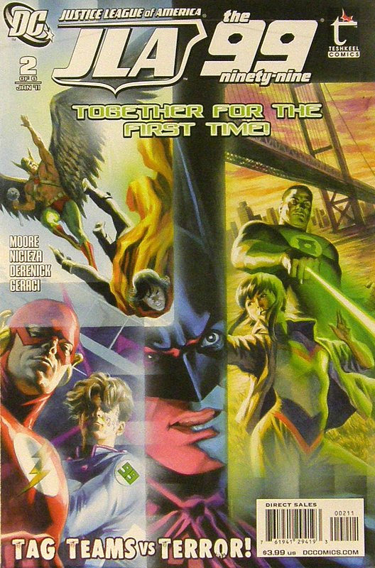 Cover of JLA/The 99 (2010 Ltd) #2. One of 250,000 Vintage American Comics on sale from Krypton!