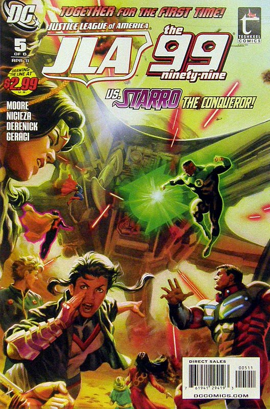 Cover of JLA/The 99 (2010 Ltd) #5. One of 250,000 Vintage American Comics on sale from Krypton!