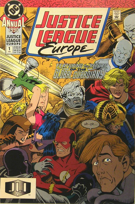 Cover of Justice League Europe Annual #1. One of 250,000 Vintage American Comics on sale from Krypton!