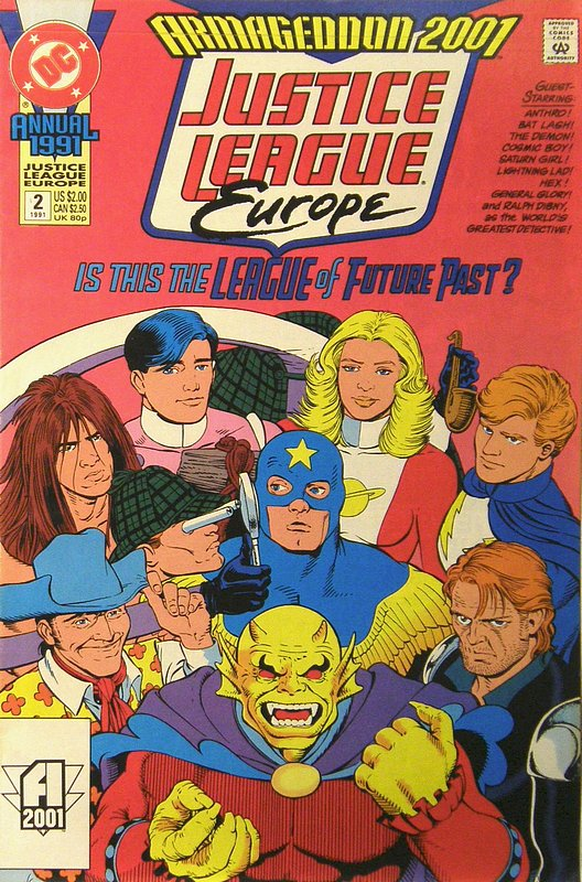 Cover of Justice League Europe Annual #2. One of 250,000 Vintage American Comics on sale from Krypton!