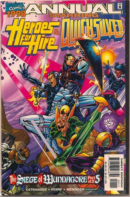 Cover of Heroes For Hire & Quicksilver 1998 Annual #1. One of 250,000 Vintage American Comics on sale from Krypton!