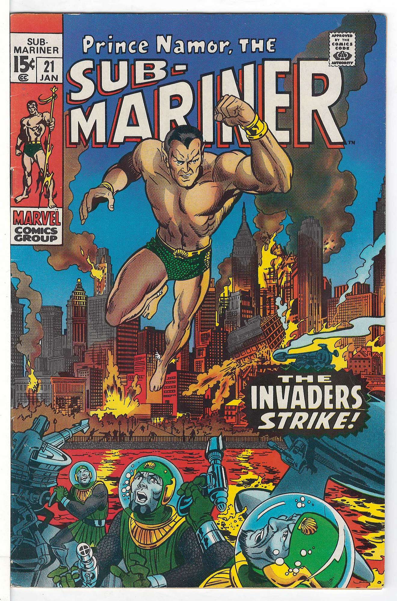 Cover of Sub-Mariner (Vol 1) #21. One of 250,000 Vintage American Comics on sale from Krypton!