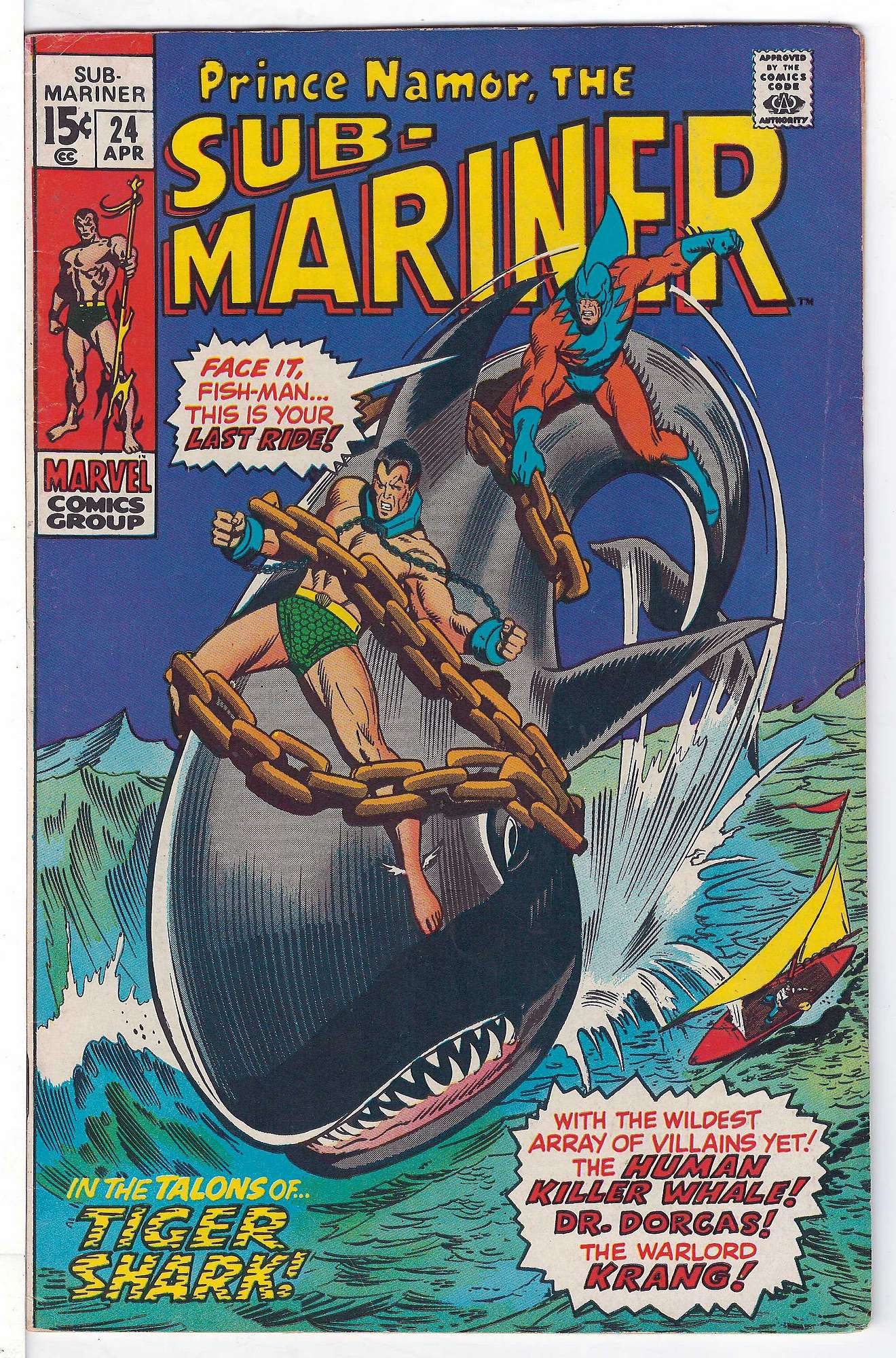 Cover of Sub-Mariner (Vol 1) #24. One of 250,000 Vintage American Comics on sale from Krypton!