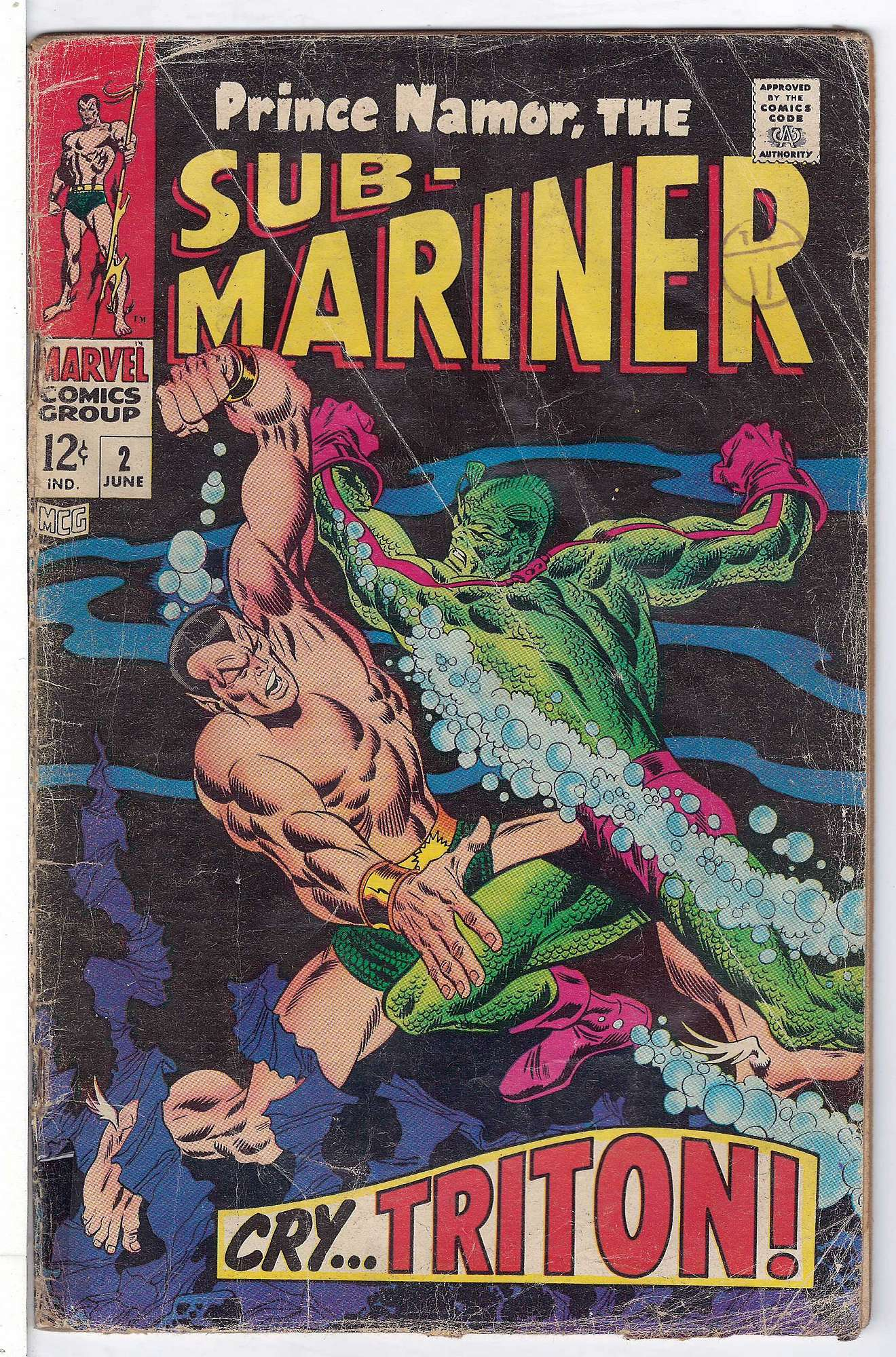 Cover of Sub-Mariner (Vol 1) #2. One of 250,000 Vintage American Comics on sale from Krypton!
