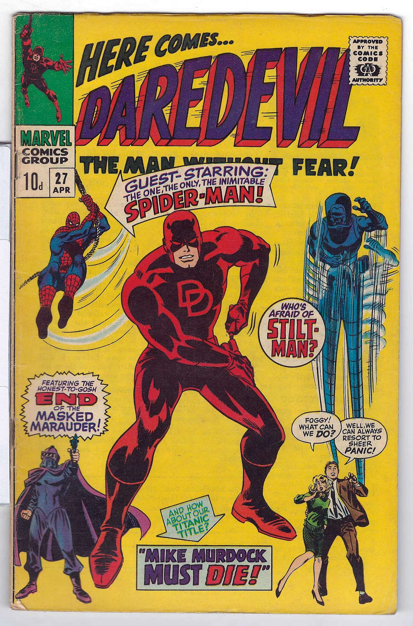 Cover of Daredevil (Vol 1) #27. One of 250,000 Vintage American Comics on sale from Krypton!