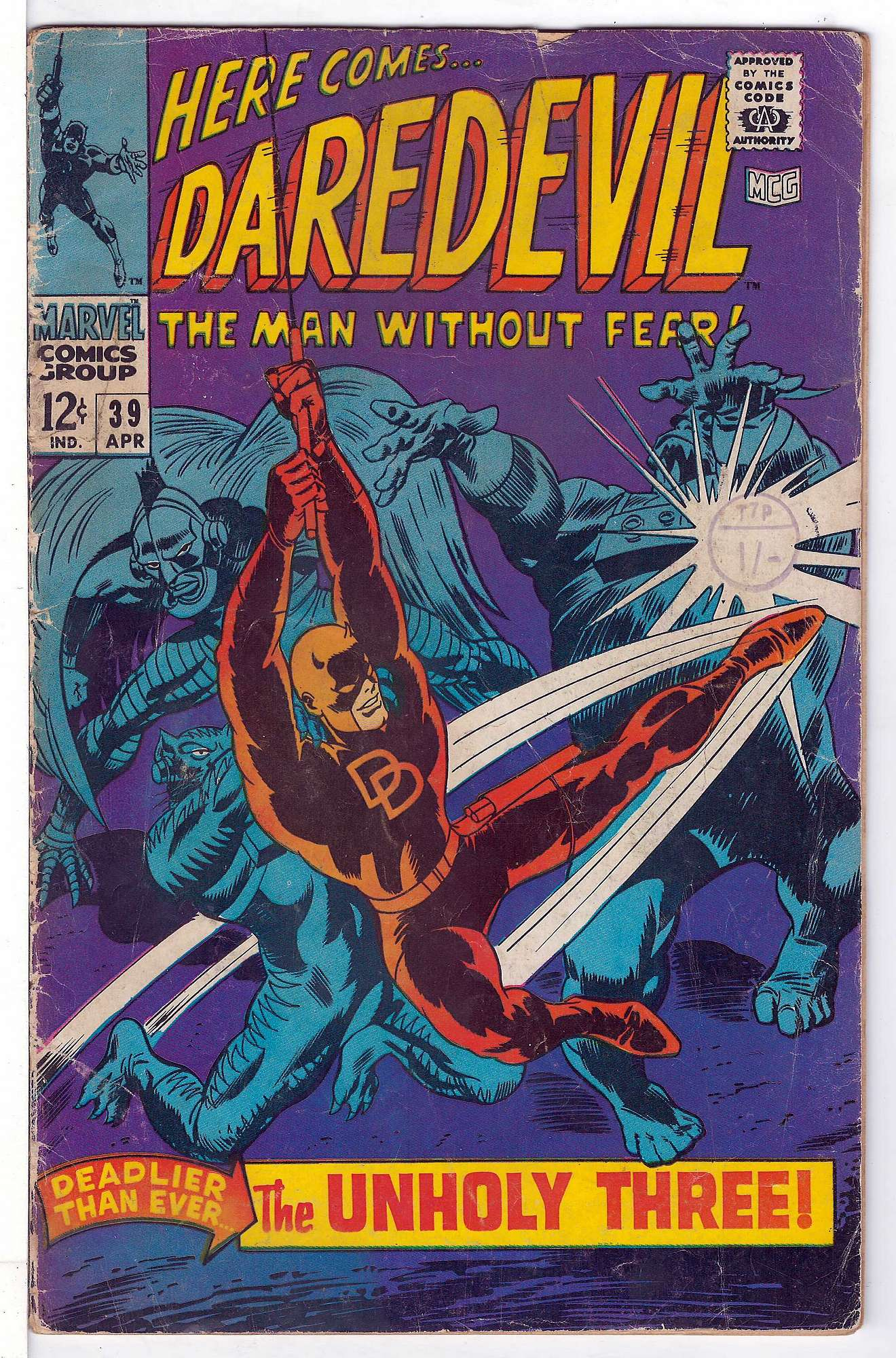 Cover of Daredevil (Vol 1) #39. One of 250,000 Vintage American Comics on sale from Krypton!