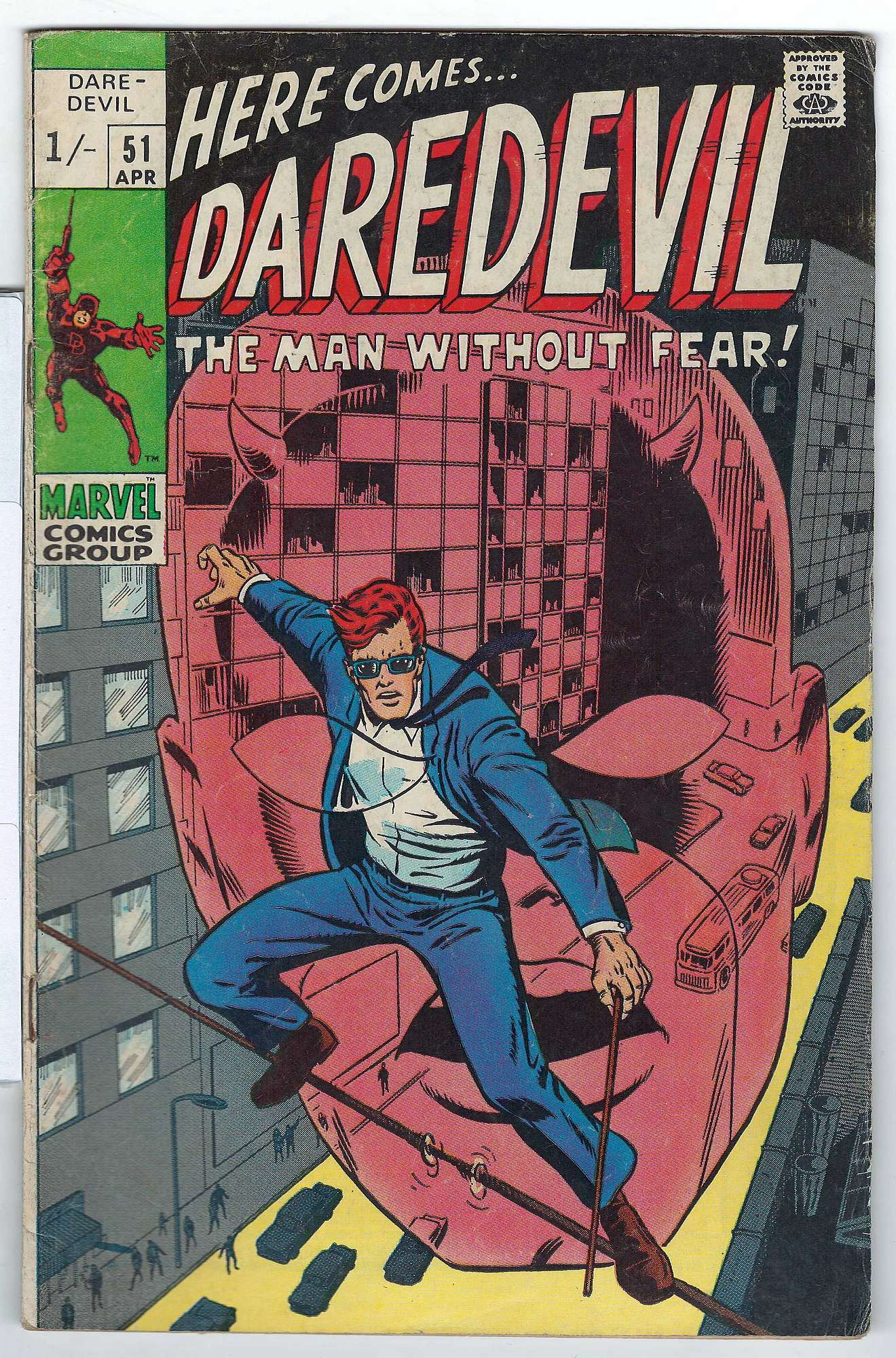 Cover of Daredevil (Vol 1) #51. One of 250,000 Vintage American Comics on sale from Krypton!