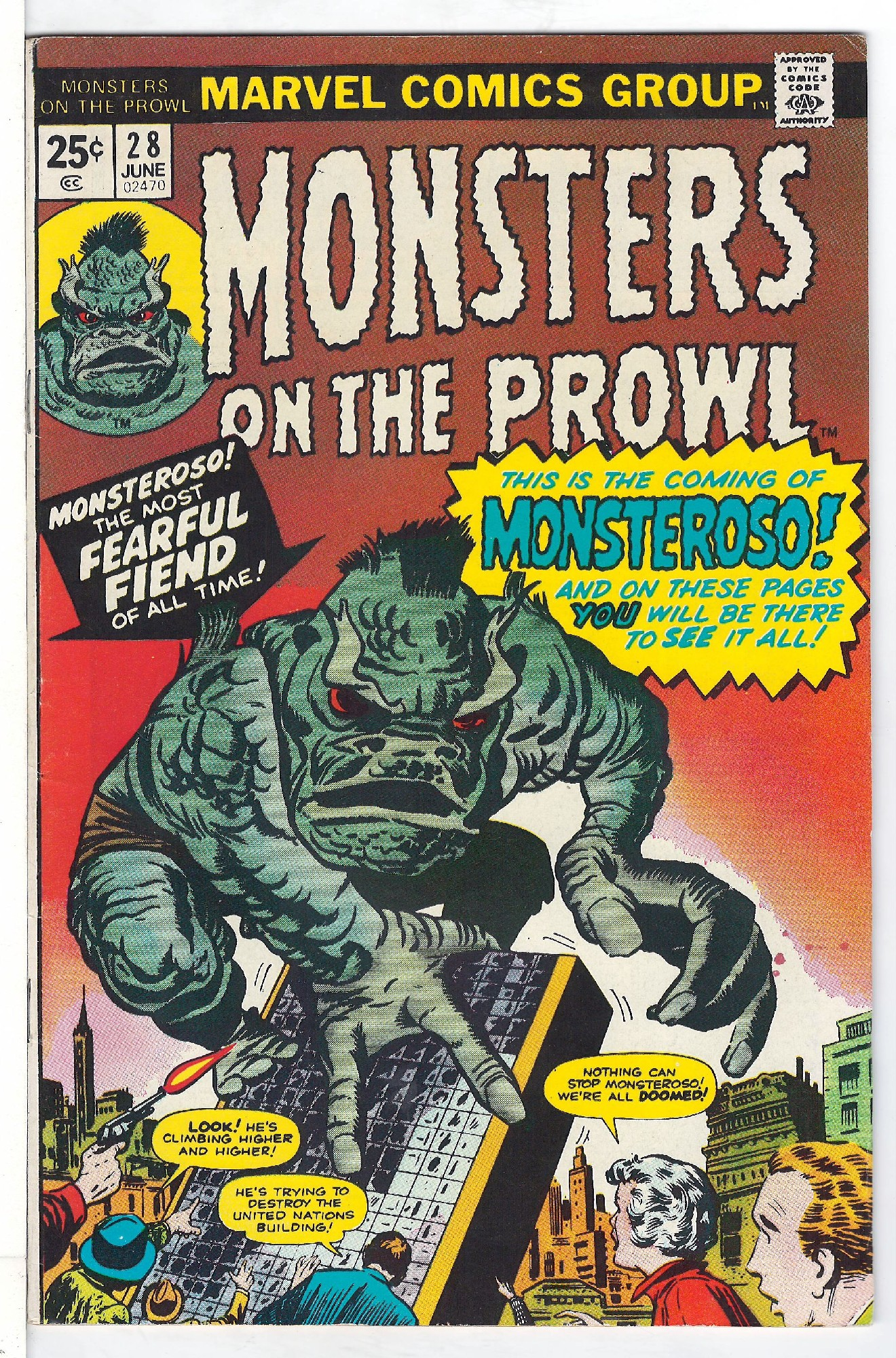 Cover of Monsters on the Prowl (Vol 1) #28. One of 250,000 Vintage American Comics on sale from Krypton!