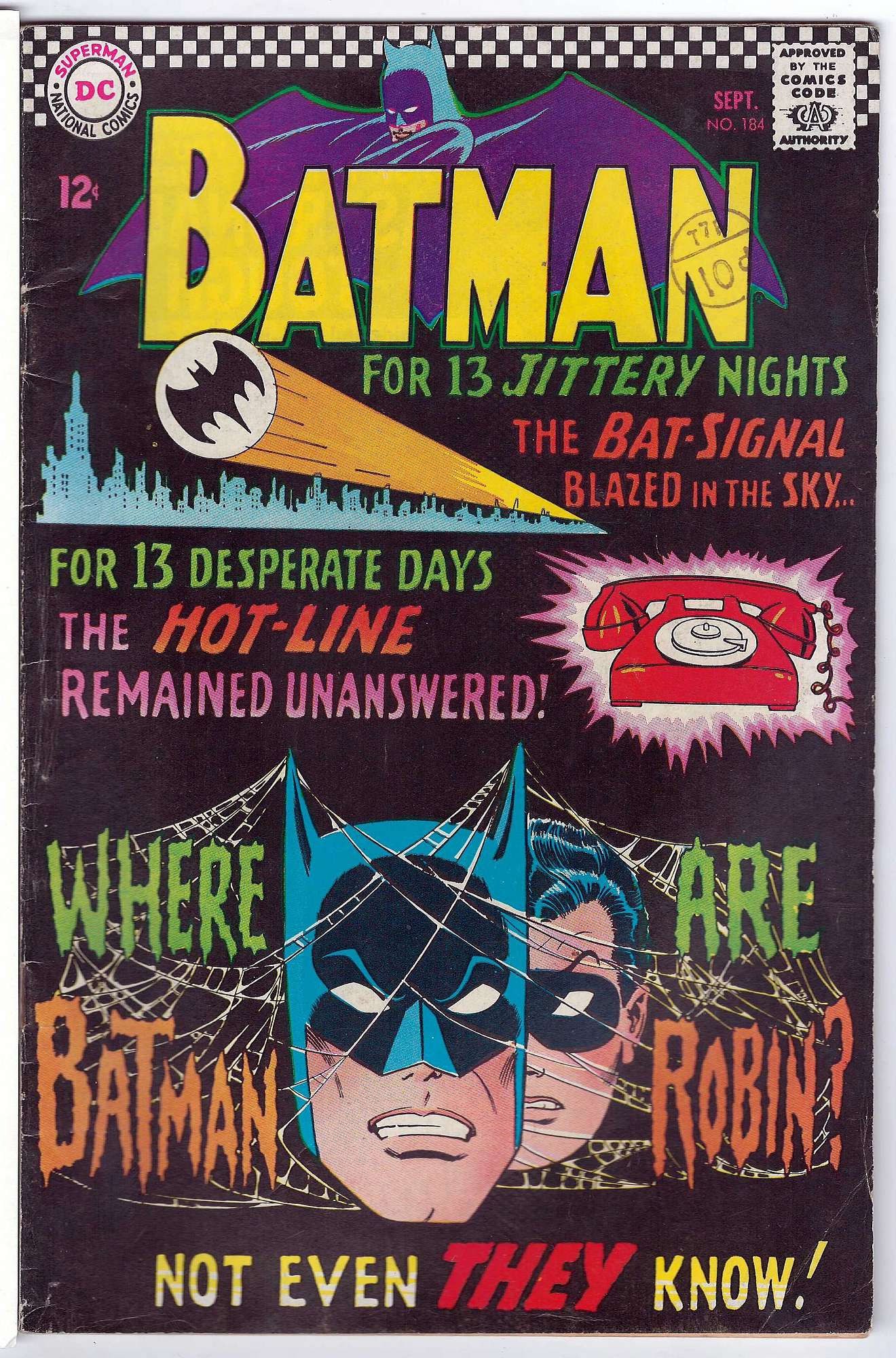 Cover of Batman #184. One of 250,000 Vintage American Comics on sale from Krypton!