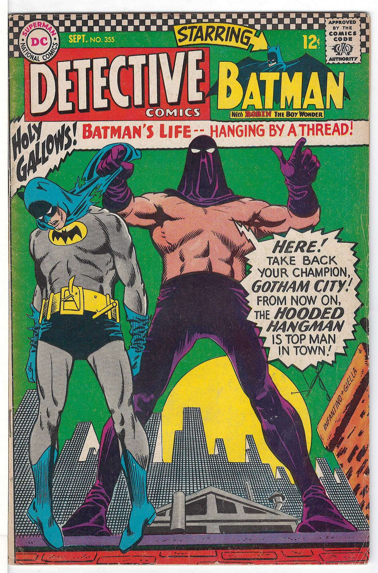 Cover of Detective Comics #355. One of 250,000 Vintage American Comics on sale from Krypton!