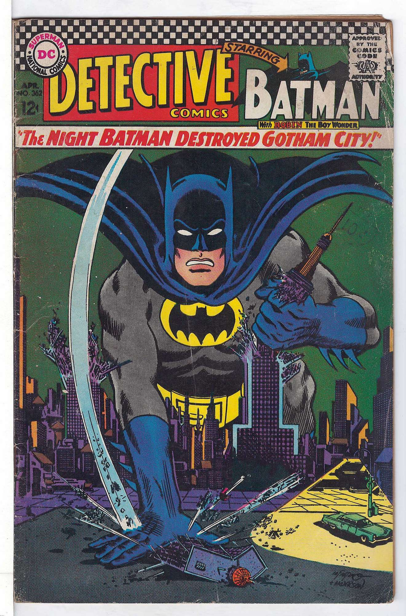 Cover of Detective Comics #362. One of 250,000 Vintage American Comics on sale from Krypton!