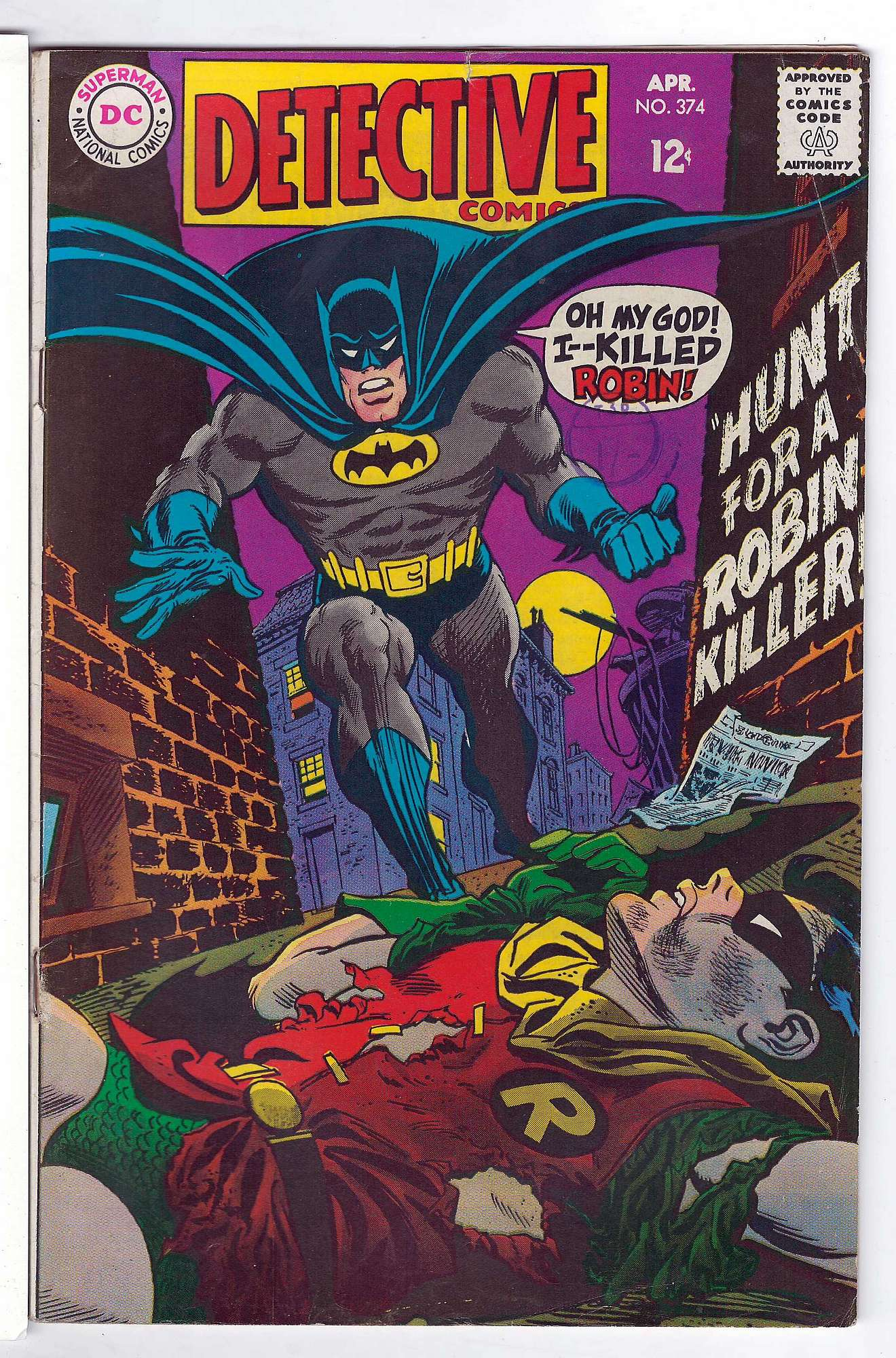 Cover of Detective Comics #374. One of 250,000 Vintage American Comics on sale from Krypton!