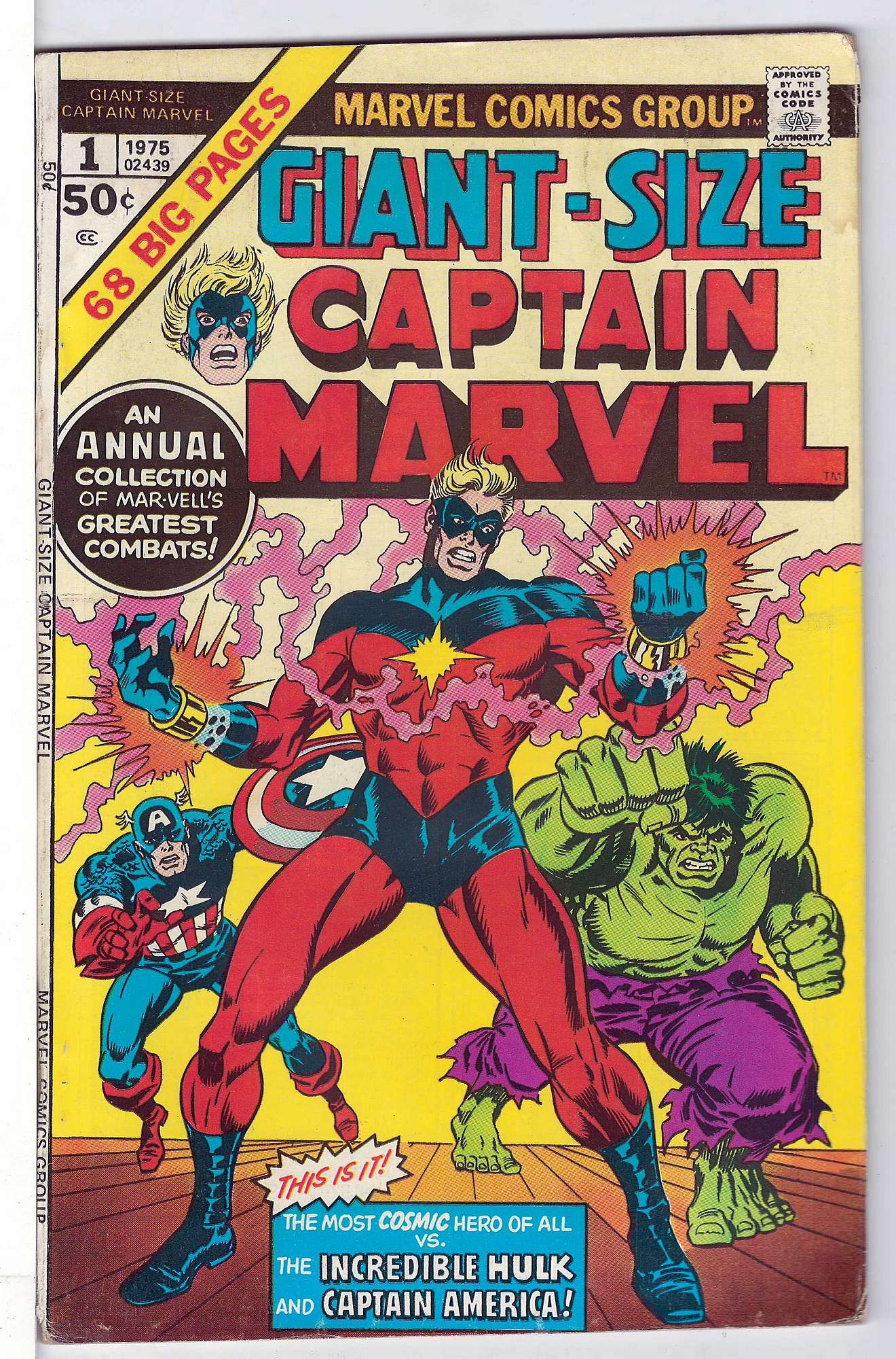 Cover of Giant-Size Captain Marvel #1. One of 250,000 Vintage American Comics on sale from Krypton!