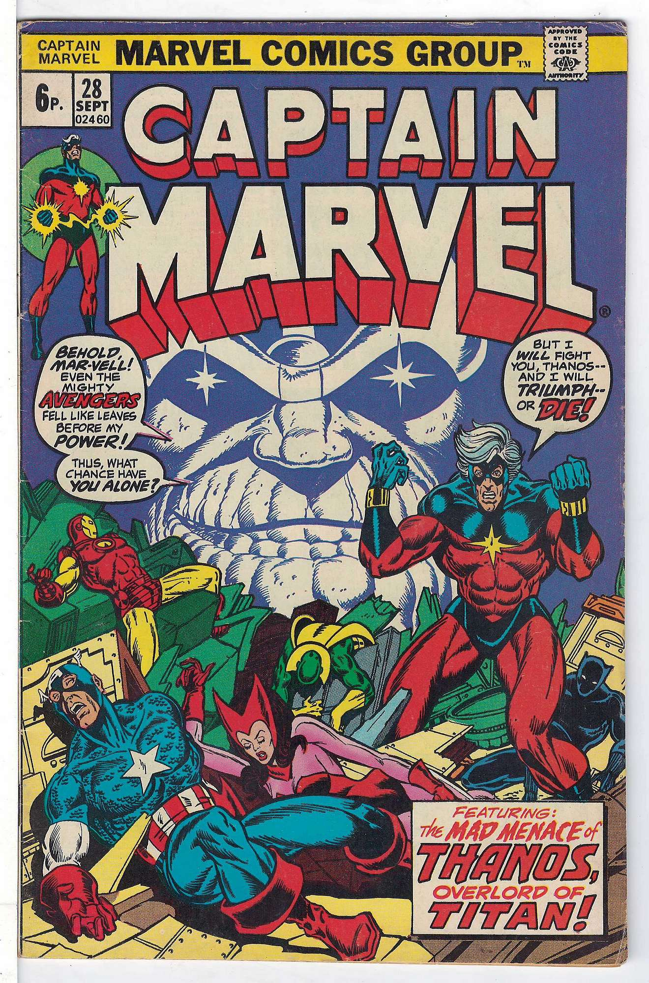 Cover of Captain Marvel (Vol 1) #28. One of 250,000 Vintage American Comics on sale from Krypton!