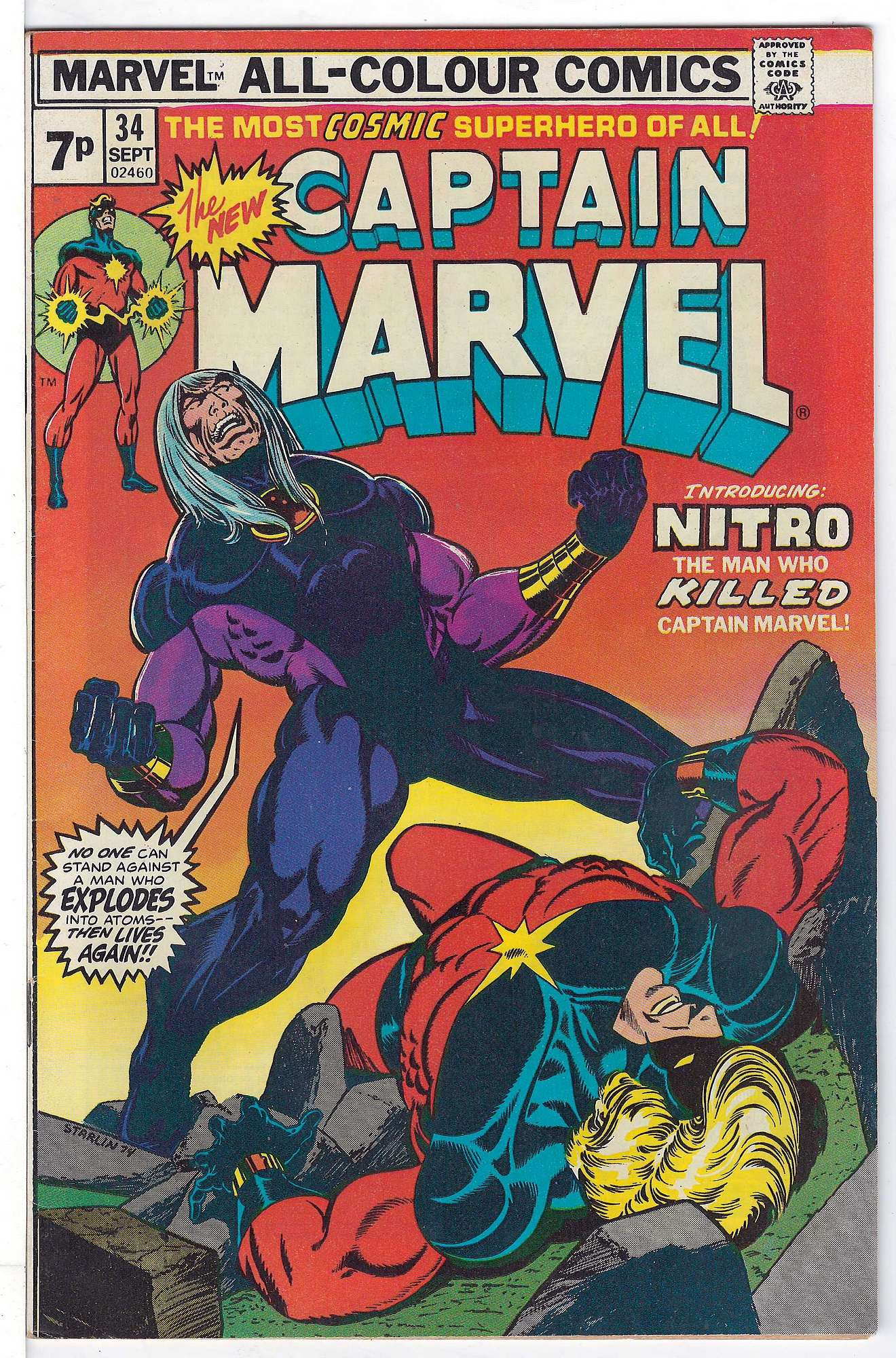 Cover of Captain Marvel (Vol 1) #34. One of 250,000 Vintage American Comics on sale from Krypton!