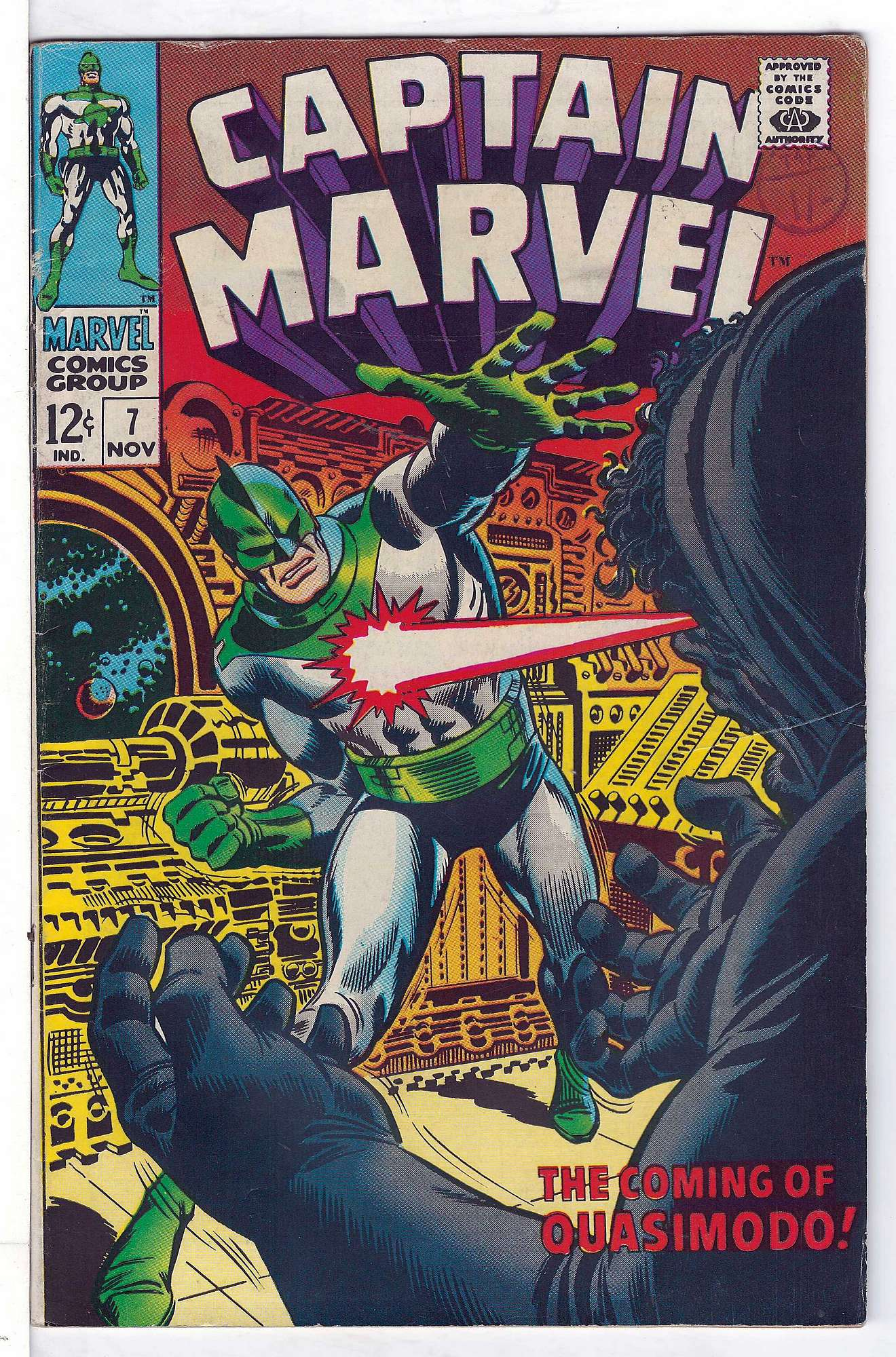 Cover of Captain Marvel (Vol 1) #7. One of 250,000 Vintage American Comics on sale from Krypton!