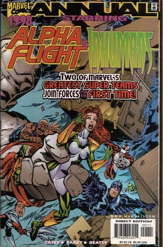 Cover of Alpha Flight & Inhumans 1998 Annual #1. One of 250,000 Vintage American Comics on sale from Krypton!