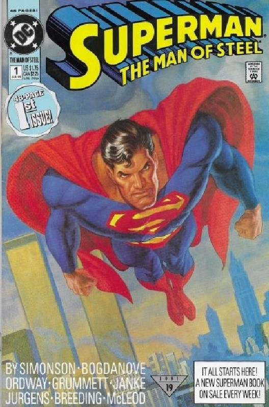 Cover of Superman: Man of Steel (Vol 1) #1. One of 250,000 Vintage American Comics on sale from Krypton!