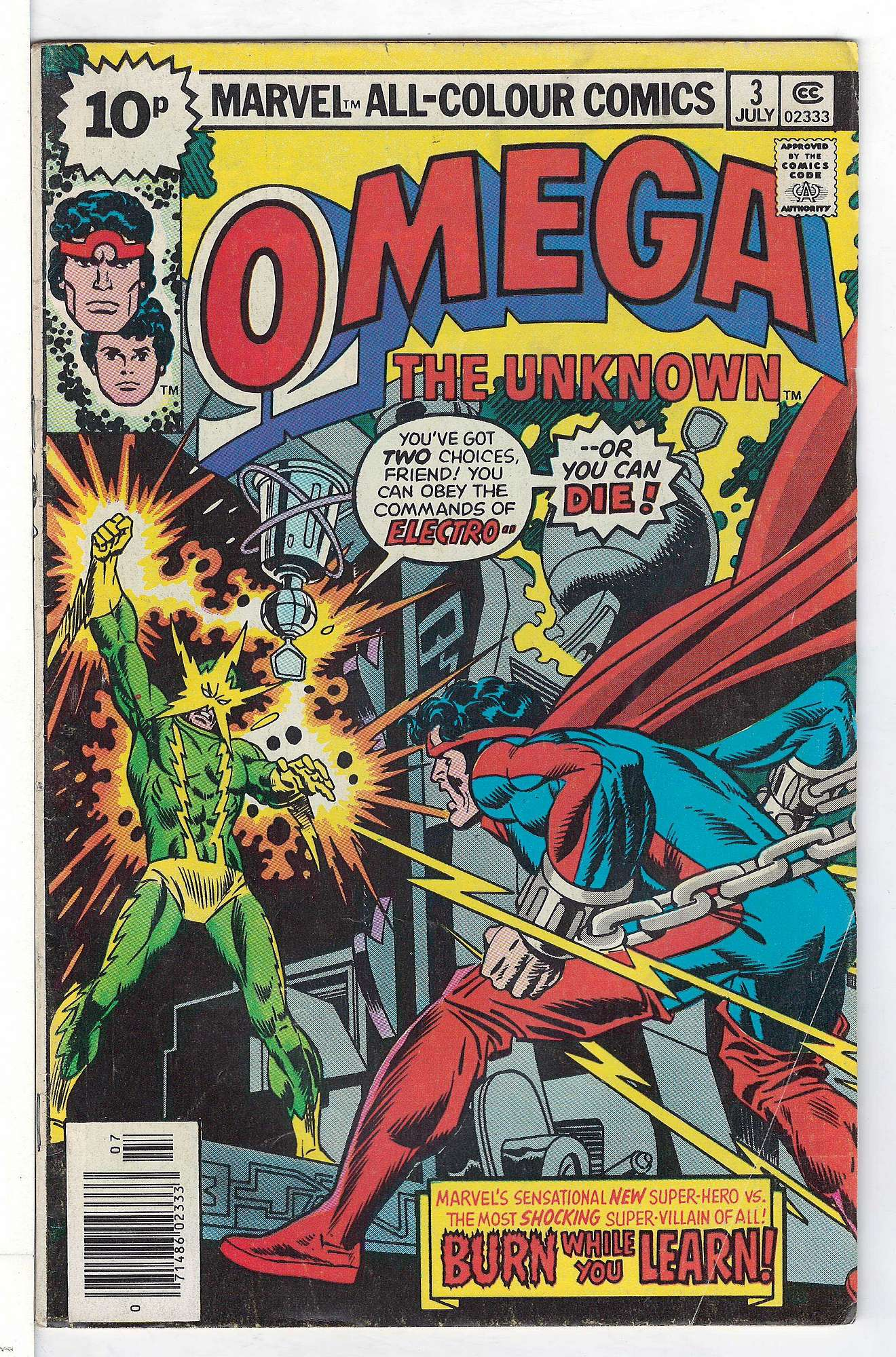 Cover of Omega The Unknown (Vol 1) #3. One of 250,000 Vintage American Comics on sale from Krypton!