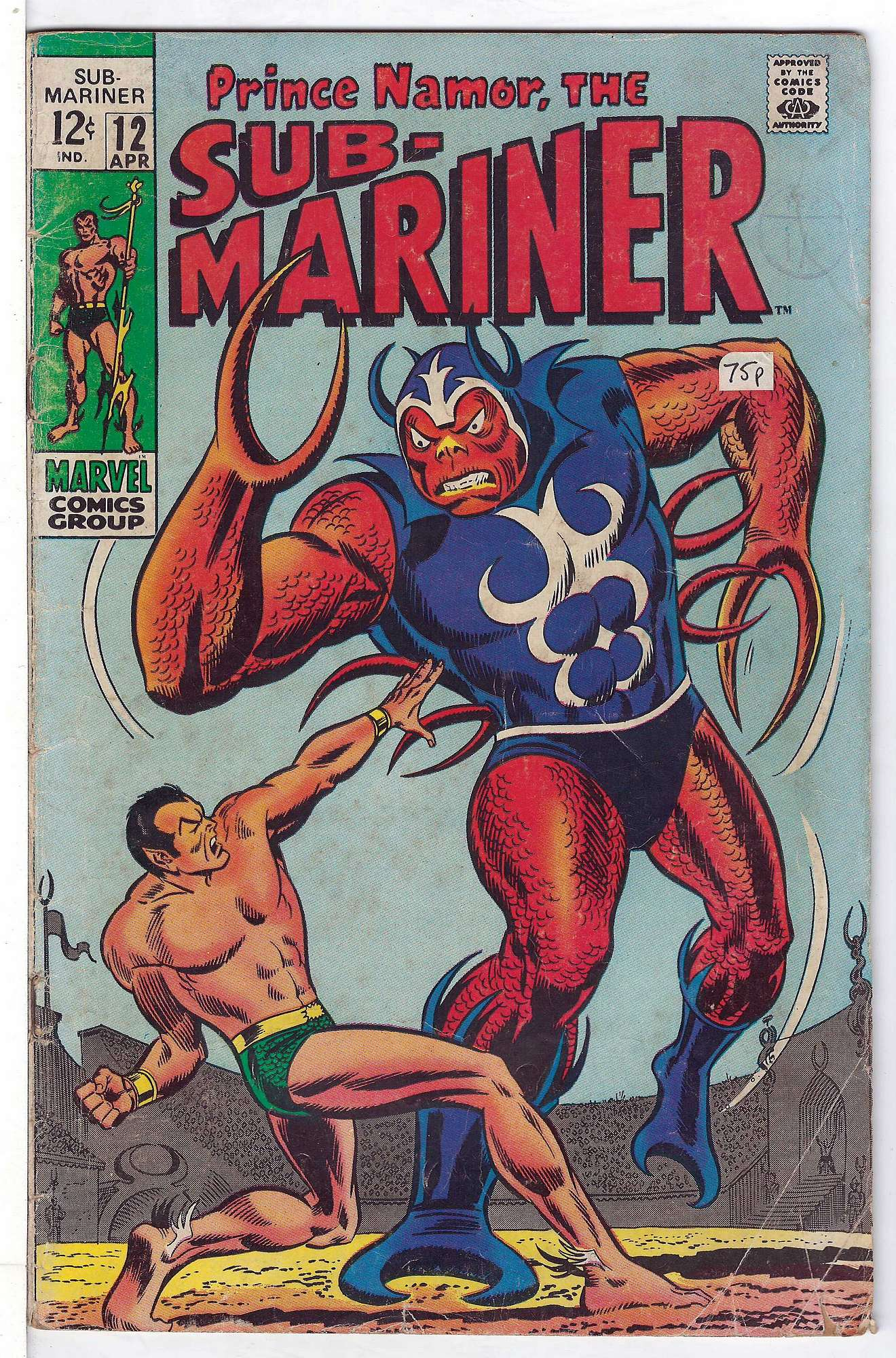 Cover of Sub-Mariner (Vol 1) #12. One of 250,000 Vintage American Comics on sale from Krypton!