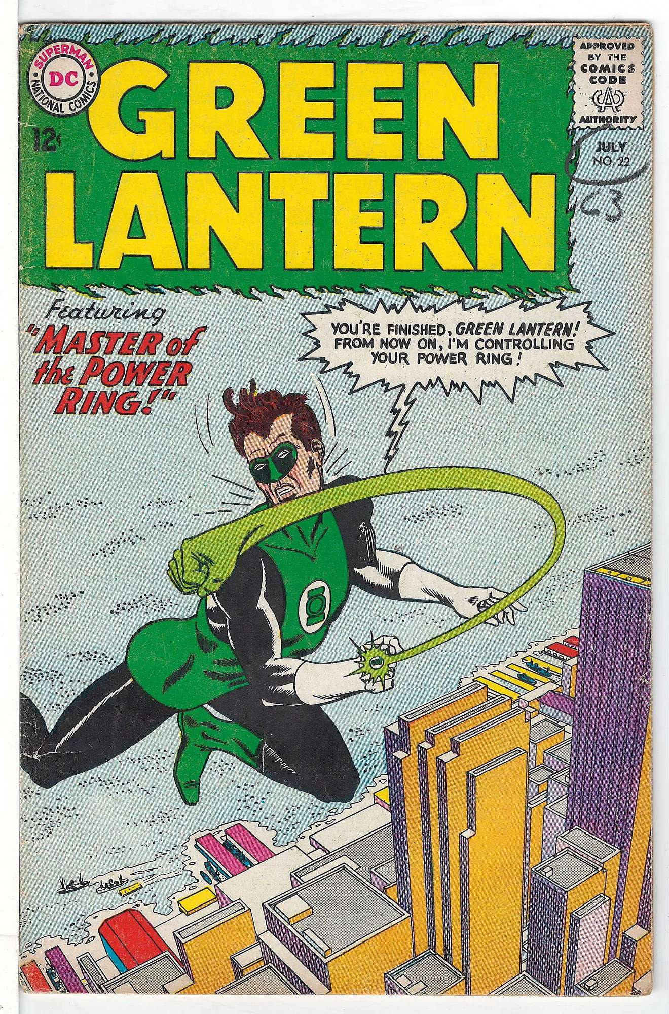 Cover of Green Lantern (Vol 2) #22. One of 250,000 Vintage American Comics on sale from Krypton!