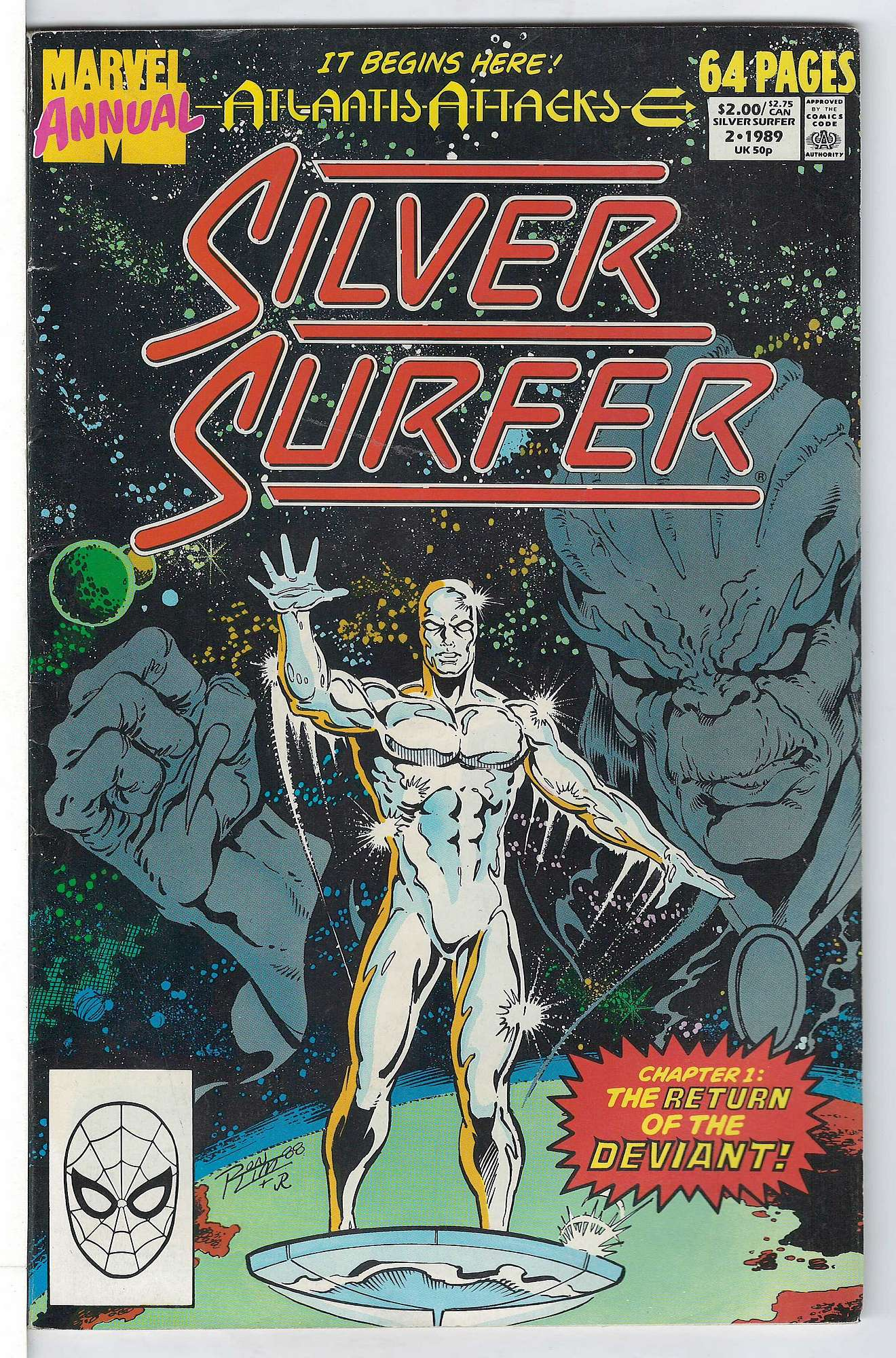 Cover of Silver Surfer Annual #2. One of 250,000 Vintage American Comics on sale from Krypton!